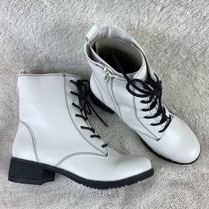 NWT Bamboo Faux Leather Combat Boots